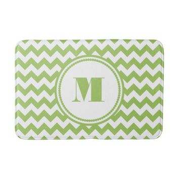 Monogram On Lime Green And Chevron Pattern Bath Mats
