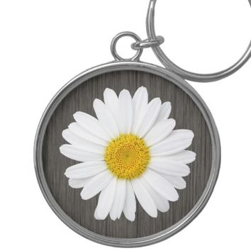 Rustic, Country Daisy Silver-Colored Round Keychain
