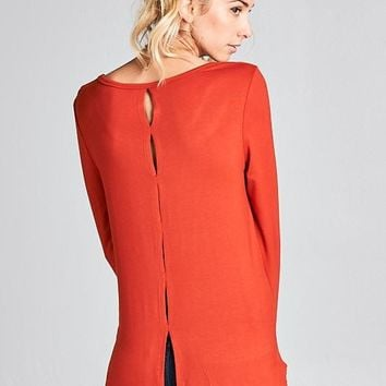 Back Slit Detail Long Sleeve Top