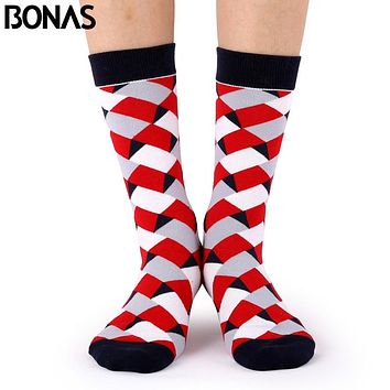 Bonas Geometry 3D Print Socks Women Wedding Gift Casual Cotton Hosiery Meia Colorful Men's Business Sox Hot Sale Christmas Socks