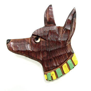 Vintage CHIHUAHUA DOG Pin Carved Wood Painted Bakelite Era Figural Brooch