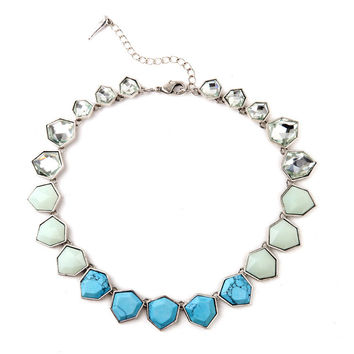 Collar Necklace Designer Jewelry 2015 Best Selling Product Tahitian Style Hexagon Resin Turquoise Choker Collar Silver Necklace