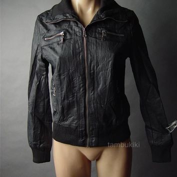 Black Faux Leather Biker Rider Motorcycle Aviator Flight Bomber 49 ac Jacket S