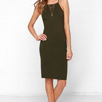 Glamorous Hit the Lights Olive Green Midi Dress