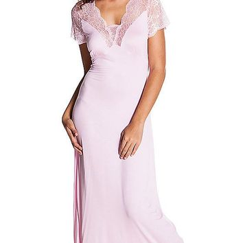 Pink Stretch Knit Nightgown w/Lace Trim & Cap Sleeves (Small-Large)