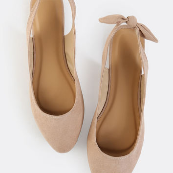 Tie Back Pointy Toe Suede Flats NUDE | MakeMeChic.COM