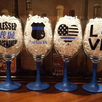 Glitter Dipped Wine Glasses-Support Police