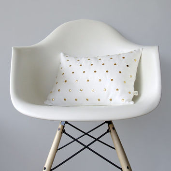 Studded Pillow Cover in Cream Linen | Polka Dot Pattern | by JillianReneDecor | Geometric Pillow | Home Decor | Gold Studs