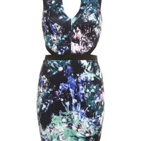 Printed Cut Out Bodycon Dress - Bodycon Dresses - Dress Shop