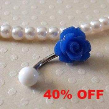 Blue Rose Belly Ring 14ga Navel Ring Stainless Steel Body Jewelry Flower Belly Black Friday Cyber Monday