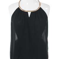 Plus Size Gilded Neckline Sheer Black Top, Plus Size Clothing, Club Wear, Dresses, Tops, Sexy Trendy Plus Size Women Clothes