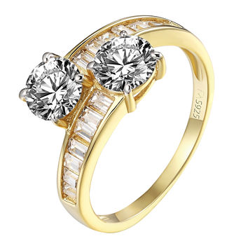 14k Gold Finish Engagement Ring 2 Solitaire CZ Twisted Band Sterling Silver