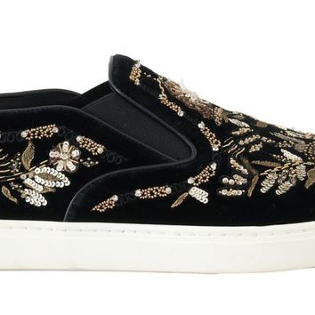 Dolce & Gabbana Black Velvet Gold Sequined Loafers