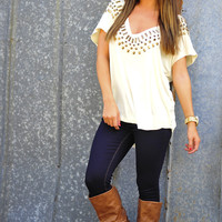 Studded With Comfort Top: Ivory | Hope's