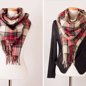 CHRISTMAS SALE ! zara inspired beige camel plaid scarf blanket tartan scottish print check printed pattern shawl