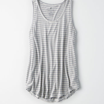 AE STRIPED FAVORITE SCOOP NECK TANK TOP, Blue