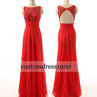 Red Cap Sleeve Long Prom Dress Handmade Crystal Beading Tulle Formal Women Evening Dress/Bridesmaid Dress/Party Dress