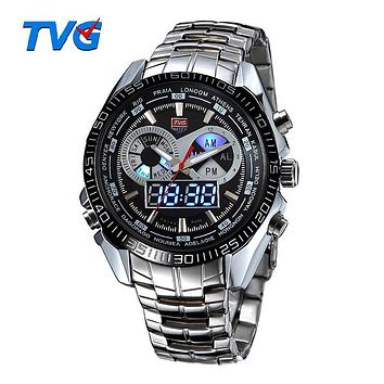 TVG Brand Luxury Stainless Steel Clock Digital Sports LED Watch Men 30M Dual Movements Waterproof Watches Relogio Masculino