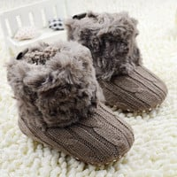 Infant CrochetKnit Fleece Boots Girl Toddler Wool Snow Crib Shoes 5 Colors 0-18 Months Baby
