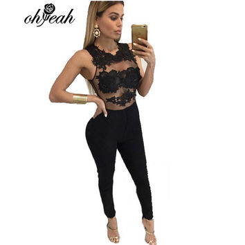 RQ80235 New arrival Hot style lace Women jumpsuits Red black Full Length Coveralls for women solid Skinny Womens romper