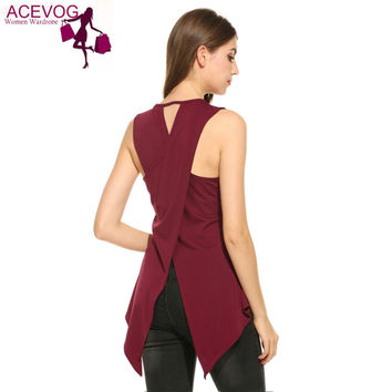 ACEVOG Summer 2017 Vest Women Casual Sleeveless O Neck Solid Slim Split Tank Top Back Cross Vest Lady Single T Shirt 5 sizes