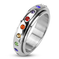 Freedom – FINAL SALE High Shine Stainless Steel Multi-Colored Rainbow Cubic Zirconia Center Spinner Commitment Ring