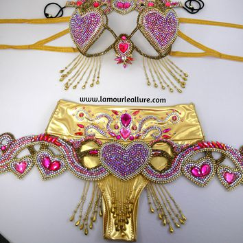 Heart Cupid Samba Cage Bra Belt Crown and High Waisted Bottom