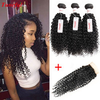 Online Shop Malaysian Virgin Hair With Closure 3 Bundle Deals Kinky Curly Weave Human Hair With Closure Malaysian Curly Hair With Closure | Aliexpress Mobile