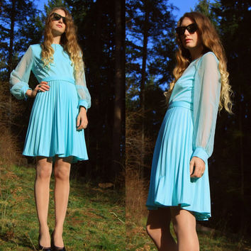 60s Mod Dress, Tiffany Blue Long Sleeve Dress, Short Pleated Sheer Sleeve Dress, Vintage A Line 1960s Babydoll Accordion Pleat Dress, Med L