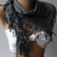 RESERVED FOR NIKI - Grey - Elegance Shawl / Scarf with Lace Edge