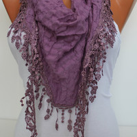 Lilac Shawl and Scarf  Headband  Cowl with Lace Edge -Summer Trends