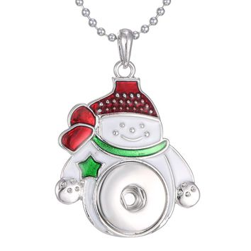 Santa Claus Snap Necklace Pendant For Women
