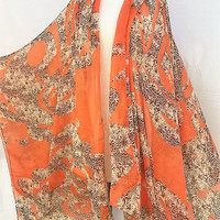 Orange kimono cardigan, plus size clothing, Leopard Print, Womens gift for women, Christmas stocking, holiday gift ideas, PiYOYO
