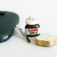 Nutella Miniature polymer clay Anti dust plug for phone with tiny knife and bread