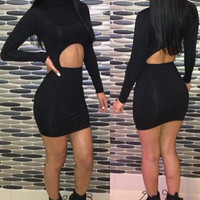Black Cut Out Long Sleeve Summer Dress