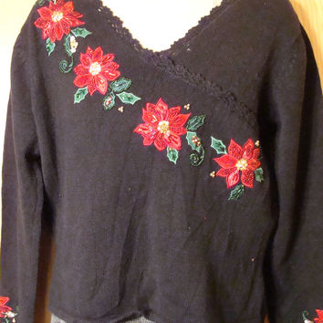 Tacky Red Poinsettias Sweater (f1290)