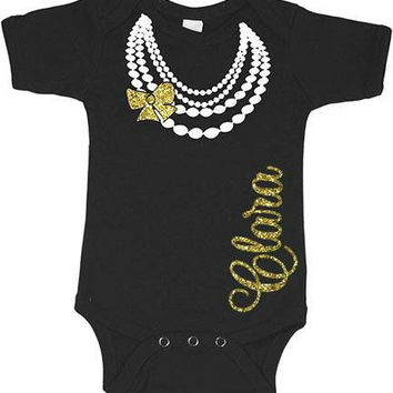 Pearls Baby Onesuit  Personalized Name Newborn Glitter (CHOOSE any COLOR) Infant Bodysuit Coming Home Outfit Gift