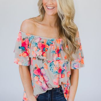 Off the Shoulder Coral Floral Summer Top