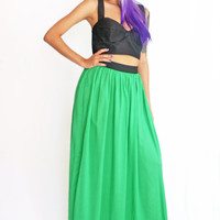 Long Green Skirt Bright Rayon
