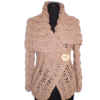 Wrap sweater,  brown sweater,   handmade sweaters, cardigan,Women cardigan knit sweater brown