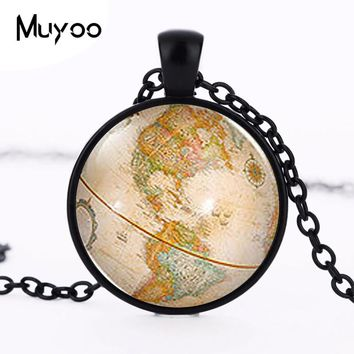 Steampunk 2017 New Vintage Antique World Globe Map Pendant Necklace Alice in Wonderland Jewelry Charm Gift Women Men Chain HZ1