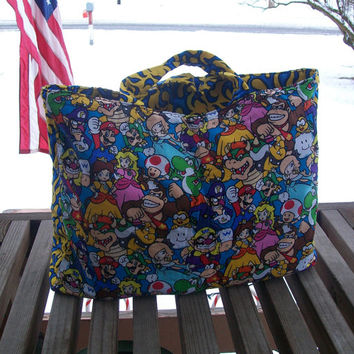 Reusable Grocery Bag Mario and Friends Tote Bag Ready to Ship
