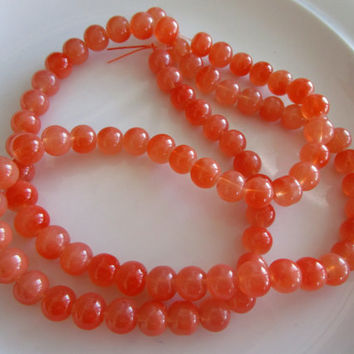 84 round Glass Beads Orange COLOR 6mm - bead supplies - glass beads - druk beads - beads jewelry - orange beads, light orange glass beads