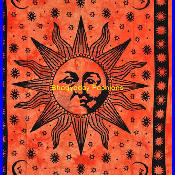 Indian Sun Hippie Hippy Tapestry Wall Hanging Throw Cotton Bed cover Bohemian Bed Decor Bed Spread Ethnic Decorative Art  Beach Sheet