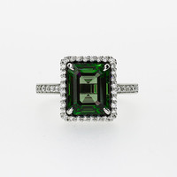 Emerald cut green tourmaline  halo engagement ring with diamonds, white gold, halo engagement ring, tourmaline, green engagement, custom