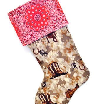 Cowboy Stocking, Cowboy Christmas, Bucking Bronco, Bucking Bronco Stocking, Cowboy Boots, Spurs Stocking, Saddle, Southwestern Stocking