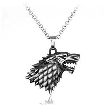 Weight 40g Game of Thrones Stark Family Goshawk Head Badge Wolf Chain Necklace Pendant Men Women Jewelry