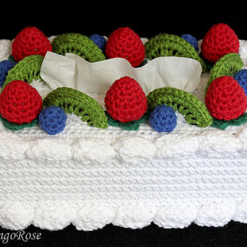 Crochet Fruit Cake Tissue Box Cover (Birthday Cake Amigurumi Toy)