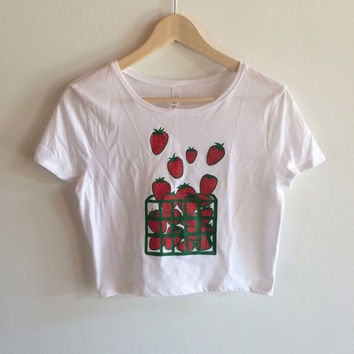 Screen Printed Strawberry Crop Top T Shirt, Fruit Print