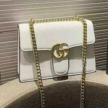 GUCCI Popular Women Shopping Metal Chain Leather Crossbody Satchel Shoulder Bag White